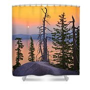 Crater Lake Trees Shower Curtain by Inge Johnsson