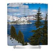 Crater Lake Winter Panorama Shower Curtain