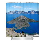 Crater Lake Wizard Island Shower Curtain