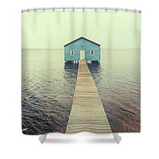 Crawley Edge Boatshed Shower Curtain by Yew Kwang