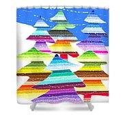 Crazy Christmas Trees Shower Curtain