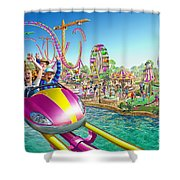 Crazy Coaster Shower Curtain by Adrian Chesterman
