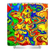 Crazy Day Abstract In Primary Colors  Shower Curtain