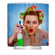Crazy Girl Cleaning Shower Curtain