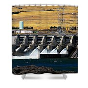 The Dalles Dam Shower Curtain