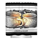 Cream And Sugar - Pottery Shower Curtain