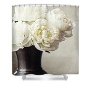 Cream Peonies In A Rustic Vase Shower Curtain