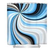 Creamy Blue Graphic Shower Curtain