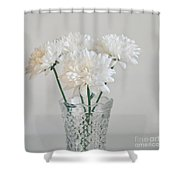 Creamy White Flowers In Tall Vase Shower Curtain by Lyn Randle