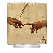 Creation Of Adam Hands A Study Coffee Painting Shower Curtain