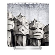 Creatures Of La Pedrera Bw Shower Curtain