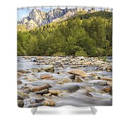Creek And Castle Crags Shower Curtain