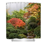 Creek At Japanese Garden In The Fall Shower Curtain