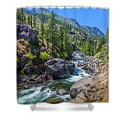 Creek Flowing Through Rocks, Icicle Shower Curtain