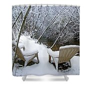 Creekside Chairs In The Snow 2 Shower Curtain