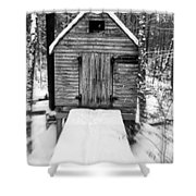 Creepy Cabin In The Woods Shower Curtain by Edward Fielding