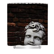 Creepy Marble Boy Garden Statue Shower Curtain