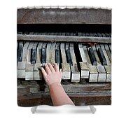 Creepy Piano Baby Shower Curtain