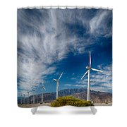 Creosote And Wind Turbines Shower Curtain