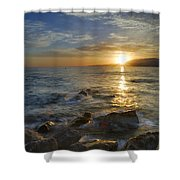 Crepuscular Rays At The Sea Shower Curtain