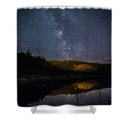 Crescent Lake Midnight Shower Curtain