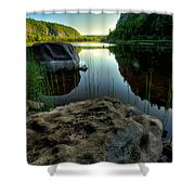 Crescent Lake Sunset Shower Curtain