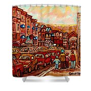 Crescent Street Family Stroll  Montreal City In Autumn City Scene Paintings Carole Spandau Shower Curtain