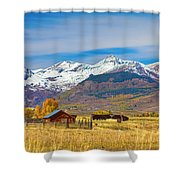 Crested Butte Autumn Landscape Panorama Shower Curtain