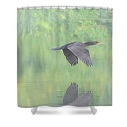 Crested Cormorant Shower Curtain