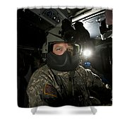 Crew Chief In A Uh-60 Black Hawk Shower Curtain