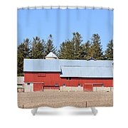 Crimson Barn Shower Curtain