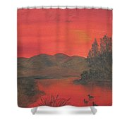 Crimson Lake Shower Curtain