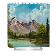 Crimson Mountains Shower Curtain