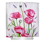 Crimson Poppies Shower Curtain