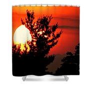 Crimson Sunset Shower Curtain