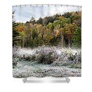 Crisp Morning Frost Hillside Landscape Shower Curtain
