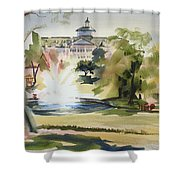 Crisp Water Fountain At The Baptist Home  Shower Curtain by Kip DeVore
