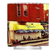 Croissanterie Figaro Parisian Bistro Sidewalk Cafe C Spandau Montreal Premier City Scene Artist Shower Curtain