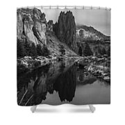 Crooked River Reflection Bw Shower Curtain