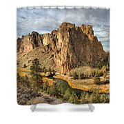 Crooked River Towers Shower Curtain