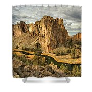 Croooked River Around The Jagged Peaks Shower Curtain