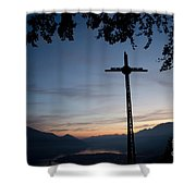 Cross On The Mountain Shower Curtain