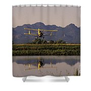 Crop Duster Applying Seed To Rice Field Shower Curtain