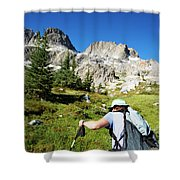 Cropped Rear View Of A Female Hiker Shower Curtain