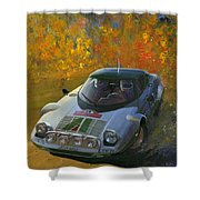 Cropped Stratos Rallye Magazine Cover Art  Shower Curtain