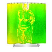 Croquis In Yellow And Green Shower Curtain