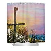 Cross At Sunset Beach Shower Curtain