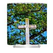 Cross At The Monastery Of The Holy Spirit Shower Curtain