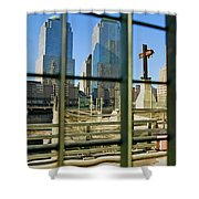Cross At World Trade Towers Memorial Shower Curtain