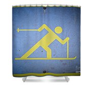 Cross Country Skiing Signboard Shower Curtain